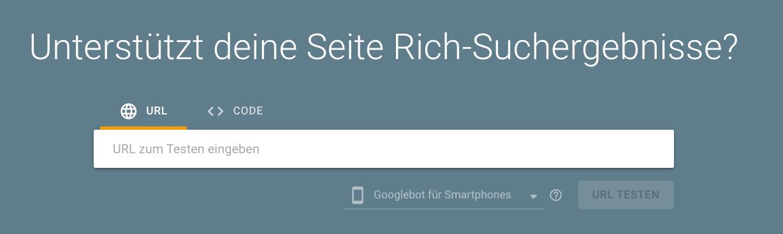 Google Tool zum Test von strukturierten Daten