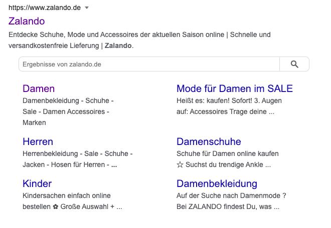 Beispiel für Sitelink Searchbox
